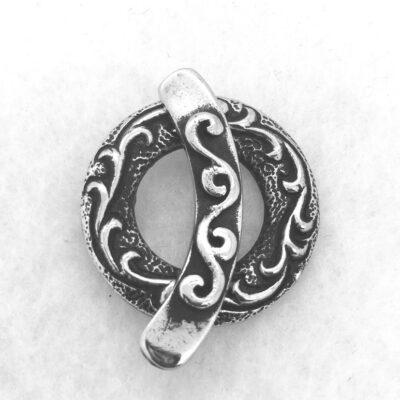 white bronze double strand toggle clasp
