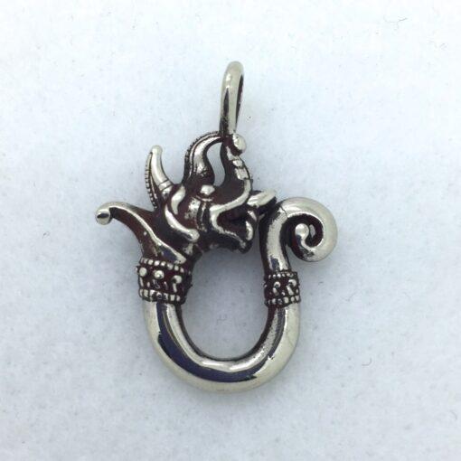 BPW49 White Bronze Siamese Dragon Pendant