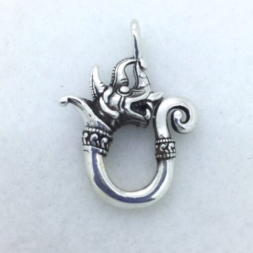 BPS49 Sterling Silver Siamese Dragon Pendant
