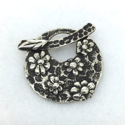 White Bronze Flower Toggle Pendant
