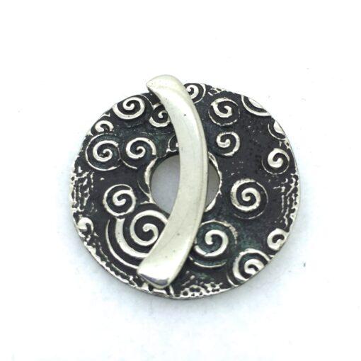 Buddha Spiral White Bronze Toggle Clasp