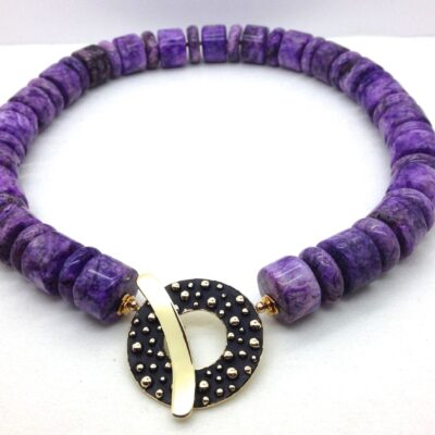 DI1 charoite and bronze necklace