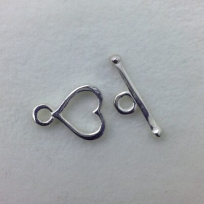 ST2 sterling silver heart toggle