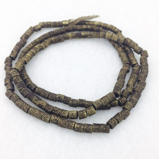 diamond pattern bronze beads